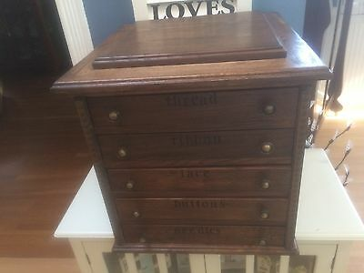 "Vintage 5 Drawer Spool Cabinet 19""x 18"" X 18"""