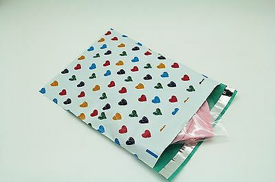 100 12x15.5 Colorful Hearts Designer Poly Mailers Envelopes Boutique Custom Bags