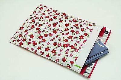 100 12x15.5 Pink Flowers Designer Poly Mailers Envelopes Boutique Custom Bags