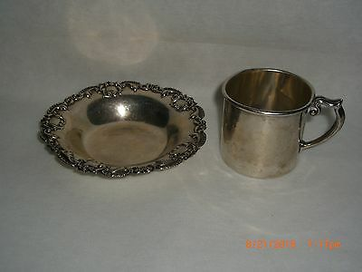 1924 Baby/Infant/Child Sterling Silver Cup and a plate