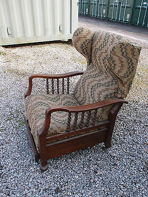 ANTIQUE GLENISTER'S PATENT RECLINING WING BACK ARM CHAIR with PULL-OUT FOOTREST