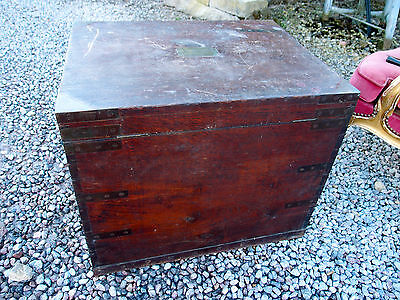 Antique Solid Teak Brass Bound Plate/blanket Box Coffer Military Campaign Chest
