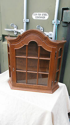 SMALL ANTIQUE FRENCH 1950's WALL HANGING SHOWCASE CHINA CABINET 2 OAK SHELVES