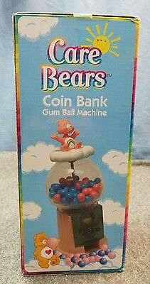 Care Bears Gumball Candy Machine Coin Bank w/ Grumpy Bear Figure Top Collectible