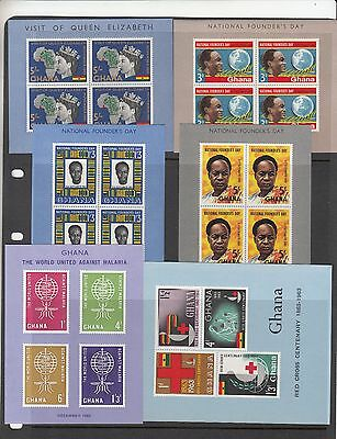 Ghana.1961,1962 and 1963 miniature sheets MNH/MUH. Going cheap.