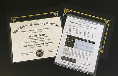 Novelty Fake High School Equivalence Diploma GED w Transcript.