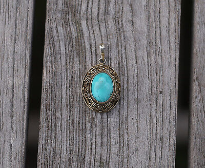 Antique Chinese Export Silver Filigree TURQUOISE Pendant