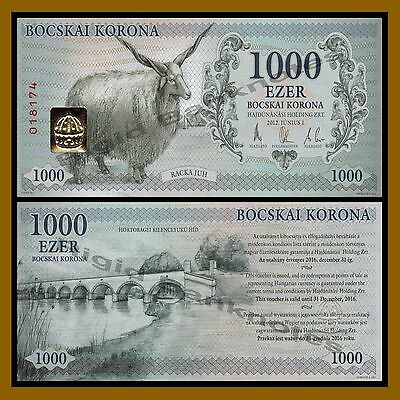 Hungary 1000 Bocskai Korona, 2012 (local Money) Sheep Unc