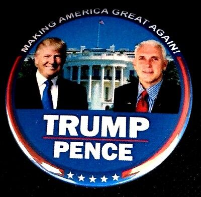 Large 2.25 inch Trump Pence Making America Great Again Pinback Button-Badge