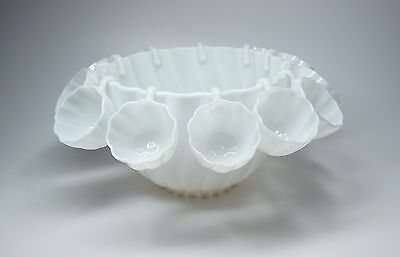 Vintage Milk Glass Punch Bowl + 12 Hanging Cups Hobnail Base - Lovely
