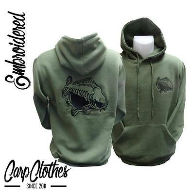 Embroidered Olive Carp Fishing Hoodie 009 BNWT S-XXXXL