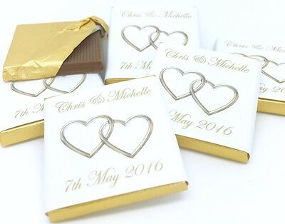 Personalised Chocolate Wedding Favours - Gold Entwined Hearts - 50/100