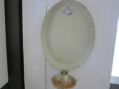 Antique/vintage painted  tin wall candle sconce with decal.