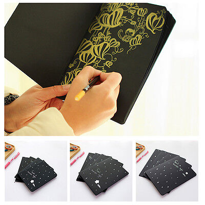 Sketch book Pure Black Paper  Diary drawing Painting Graffiti Notebook School