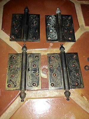 1869 Antique (4) Brass Color Cast Iron Hinges