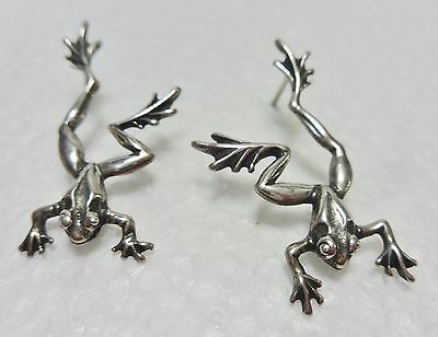 Sterling Silver Frog Pierced Post Earrings Signed 1.5""