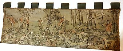 "Antique Tapestry Textile English Fox Hunt Scene Catching a BOAR 58"" X 21 1/2"""