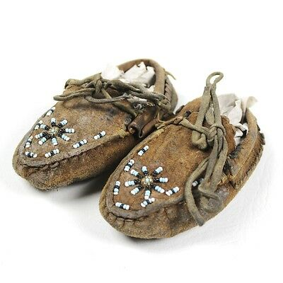 Original Native American Child's Leather Moccasins - Pacific Northwest Tribe Old