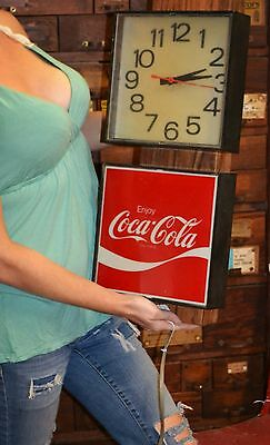 Coca Cola Vintage 1980s Lighted Advertising Sign Wall Clock