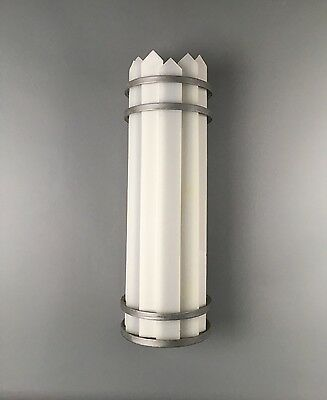 Antique Large Art Deco Aluminum Machine Age Theatre Theater Wall Sconce Light