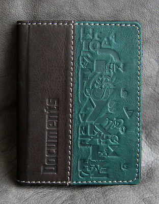 BLACK GREEN Genuine LEATHER Auto Documents COVER Drivers Licence ART HANDMADE 64