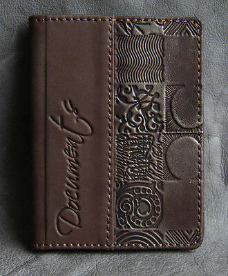 BROWN Genuine LEATHER Auto Documents COVER Drivers Licence ART HANDMADE 65