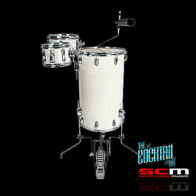 Stand Up Drum Kit Club Cocktail Drumset White Sparkle Finish
