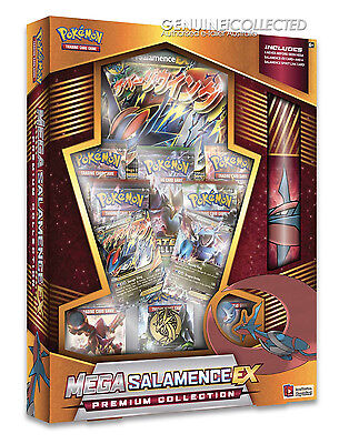 Mega Salamence EX Premium Collection Pokemon Card Box | 8 Boosters Playmat Holo