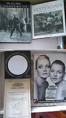 The Times Millennium Gift Box Newspapers 2 Books Certificate & Plate Collectible