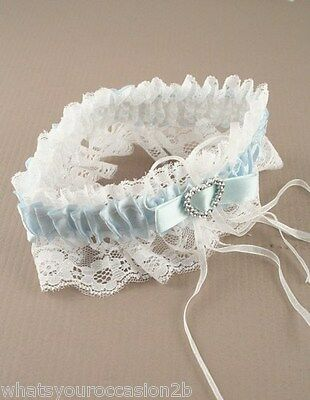 New Blue or White Ribbon & Lace Bridal Garter with Crystal Heart Wedding