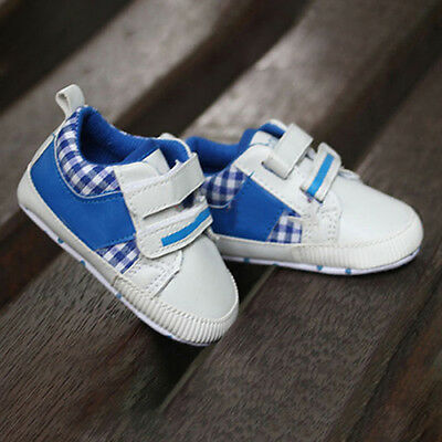 Baby Boy Plaid Soft Sole Pram Shoes Trainers Size Newborn To 18 Months Retro