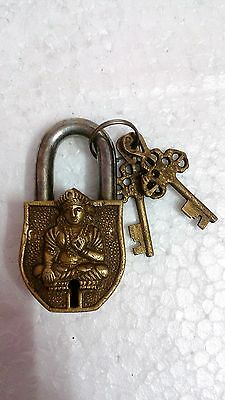 Vintage Old Rare looking Men figure Sitting Brass padlock /working / Unique Keys