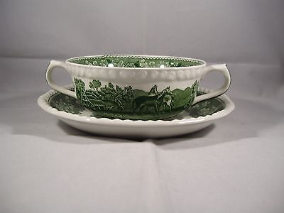 adams english scenic green twin handled soup cup and saucer--horses---/excellent
