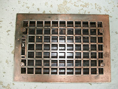 Antique 8X12 Inch Cast Iron Floor  Register Grate Louvers Excellent