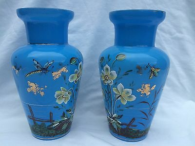 Pair of French 19th Century Blue Opaline Glass Vases