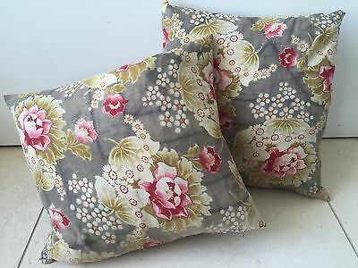 X1 Antique French 1900'S French Floral Fabric Cushion Eiderdown Vintage