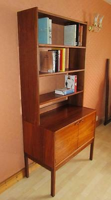Freestanding Danish Style Rosewood Cabinet Bookcase. 1960's Vintage Retro
