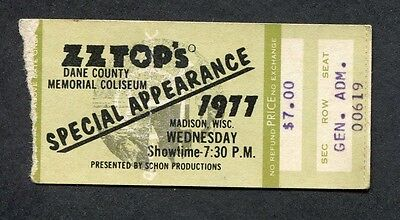 1977 ZZ Top Concert Ticket Stub Madison Wisconsin Worldwide Texas Tour