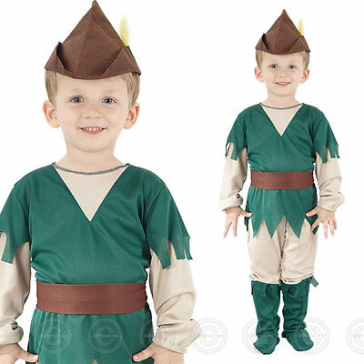 Toddler Robin Hood Fancy Dress Costume Pan Medieval Peter Childs Boys Age 2 3 4