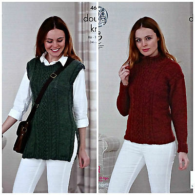 KNITTING PATTERN Ladies Long Sleeve High Neck Cable Jumper DK King Cole 4686
