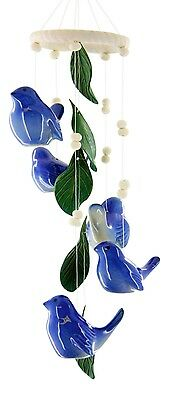 Bluebird of Happiness Clay Motif 14 Inch Wind Chimes Garden Decor