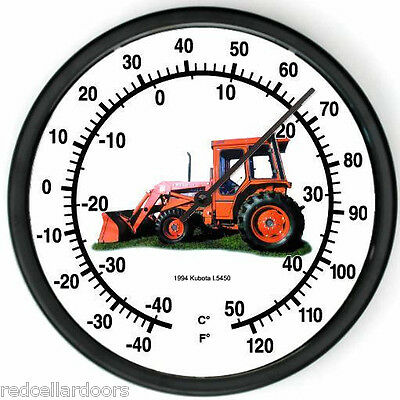 """New KUBOTA Model L5450 Tractor Wall Thermometer 1994 10"""" Round Indoor Farmer Gif"""