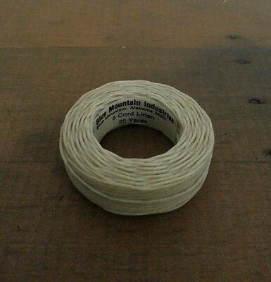 Linen Thread Waxed Natural 5 cord right twist 25 yards. NEW old stock
