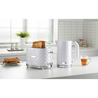Diamond Stylish 1.5L Electric Kettle and 2 Slice Toaster Breakfast Set in White