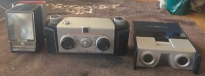 COMPLETE Vtg 1955 Delta Stereo Camera 35mm • Viewer • Flash • Case - Working