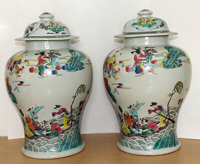 2 Antique Ginger Jars Chinese Handpainted Chinese Colorful Extra Large Pair