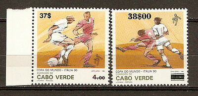 Cape Verde World Cup Soccer Italia '90 MNH - Surcharged Revalued Overprinted
