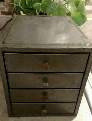vintage industrial small parts cabinet bin machine age drawer