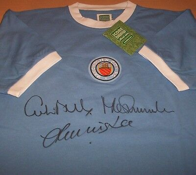 Manchester City Signed 1970s Retro Football Shirt By Lee, Bell, Summerbee PROOF