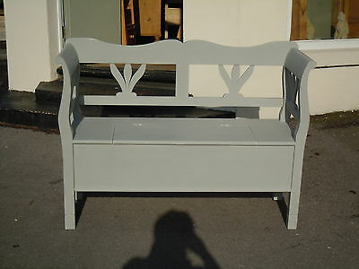 Shabby Chic Pine box settle bench F&B Lamp Room Gray 48""